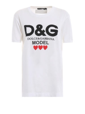 DOLCE & GABBANA: t-shirt - T-shirt bianca con stampa D&G Model