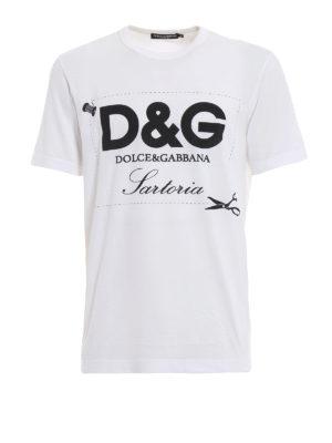 DOLCE & GABBANA: t-shirt - T-shirt con stampa D&G Sartoria