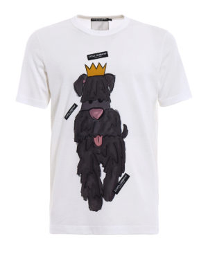Dolce & Gabbana: t-shirts - Dog print T-shirt