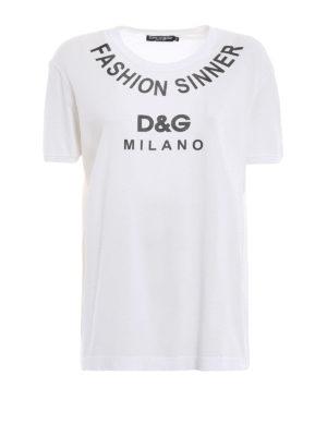 DOLCE & GABBANA: t-shirt - T-shirt in jersey con stampa Fashion Sinner