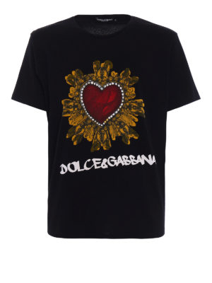 Dolce & Gabbana: t-shirts - Heart print cotton T-shirt
