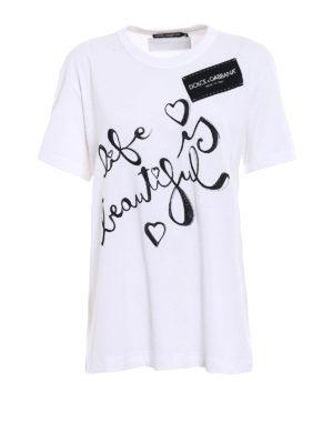 Dolce & Gabbana: t-shirts - Jersey logo detailed T-shirt