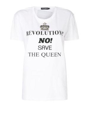 DOLCE & GABBANA: t-shirt - T-shirt con ricamo gioiello