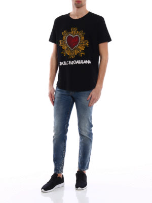 Dolce & Gabbana: t-shirts online - Heart print cotton T-shirt