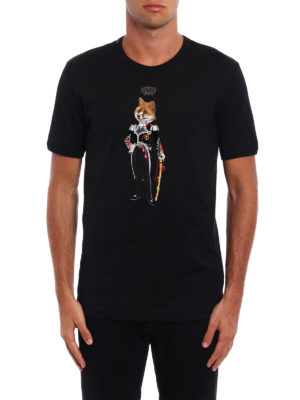 Dolce & Gabbana: t-shirts online - Royal feline embroidery T-shirt