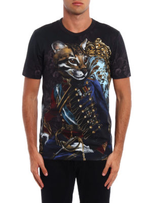 Dolce & Gabbana: t-shirts online - Royal feline print T-shirt