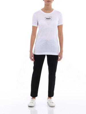 Dolce & Gabbana: t-shirts online - Sequin logo white cotton T-shirt