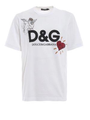 DOLCE & GABBANA: t-shirt - T-shirt bianca in cotone con stampa Cupido