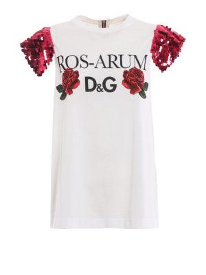 DOLCE & GABBANA: t-shirt - T-shirt con maniche di paillettes