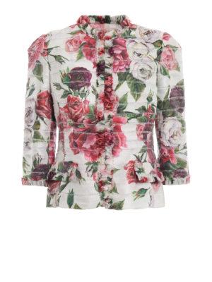 DOLCE & GABBANA: giacche sartoriali - Giacca a balzine con stampa Peonie