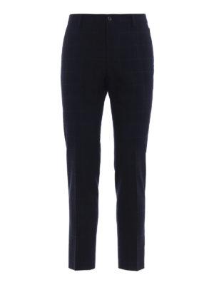 DOLCE & GABBANA: Pantaloni sartoriali - Pantaloni formali in lana blu a quadri