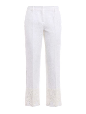 Dolce & Gabbana: Tailored & Formal trousers - Macramé trimmed brocade trousers
