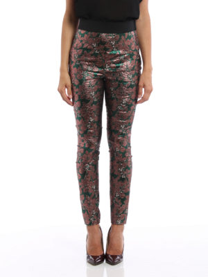 Dolce & Gabbana: Tailored & Formal trousers online - Iridescent brocade cigarette pants