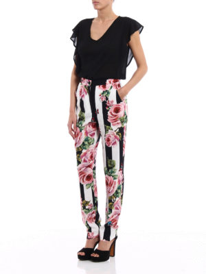 Dolce & Gabbana: Tailored & Formal trousers online - Rose print crepe formal trousers
