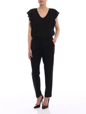 Dolce & Gabbana: Tailored & Formal trousers online - Silk bands wool tailored trousers
