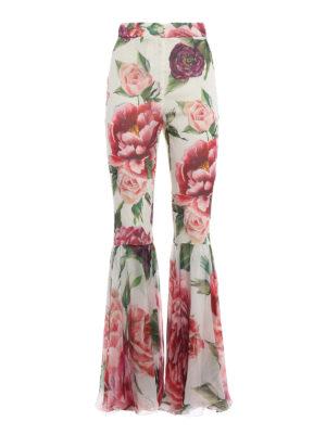 DOLCE & GABBANA: Pantaloni sartoriali - Pantaloni in seta Peonie con fondo volant