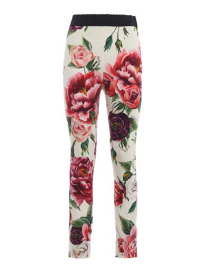 DOLCE & GABBANA: Pantaloni sartoriali - Pantaloni in seta stretch stampa Peonie