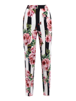 Dolce & Gabbana: Tailored & Formal trousers - Rose print crepe formal trousers