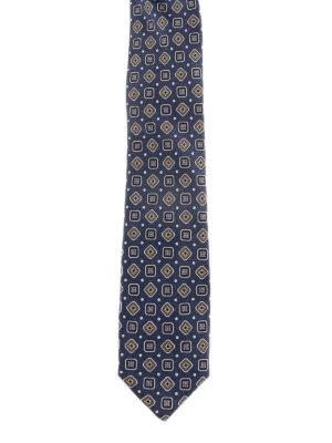 DOLCE & GABBANA: cravatte e papillion - Cravatta in seta blu con motivo geometrico
