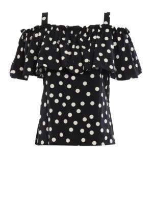 Dolce & Gabbana: Tops & Tank tops - Polka dot cotton flounced tank top