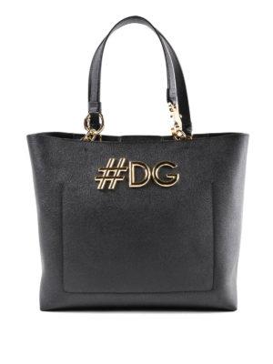 DOLCE & GABBANA: shopper - Shopper in pelle Dauphine nera