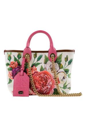 DOLCE & GABBANA: shopper - Shopper Capri piccola in canvas stampa Peonie