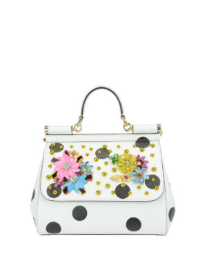 Dolce & Gabbana: totes bags - Floral polka dot Sicily Medium bag