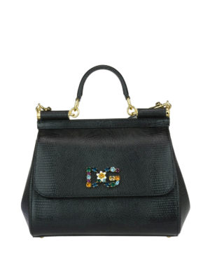 Dolce & Gabbana: totes bags - Medium Sicily bag with logo patch
