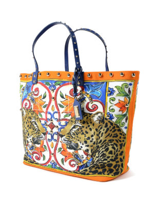 Dolce & Gabbana: totes bags online - Beatrice canvas shopping bag
