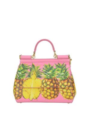 Dolce & Gabbana: totes bags - Sicily Medium Ananas print  handbag
