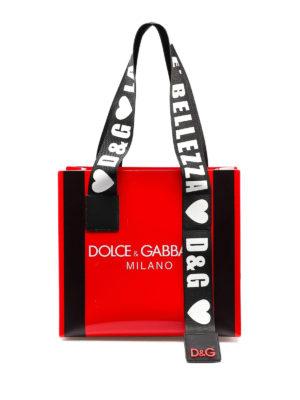 3b7860ef24 DOLCE & GABBANA: shopper - Shopper Street in pvc rossa con stampa logo