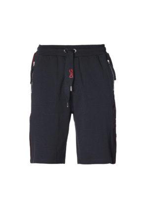DOLCE & GABBANA: pantaloni sport - Shorts in cotone con logo