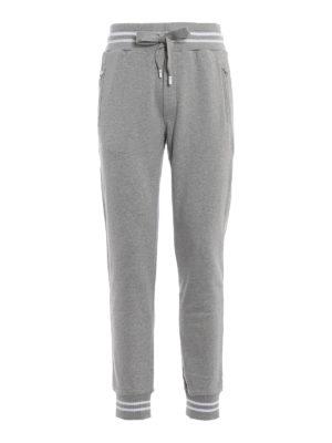 DOLCE & GABBANA: pantaloni sport - Pantaloni jogger in cotone grigio melange