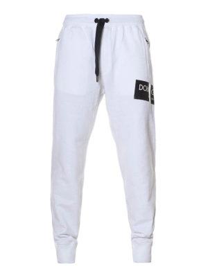 Dolce & Gabbana: tracksuit bottoms - White cotton fleece track pants