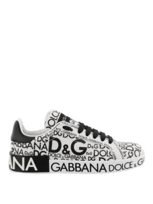 Dolce & Gabbana: trainers - All-over logo leather sneakers