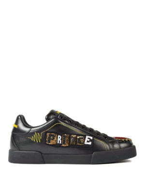 Dolce & Gabbana: trainers - Beaded Prince patch leather sneaker