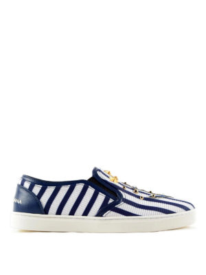 Dolce & Gabbana: trainers - Embellished marine slip-on sneakers