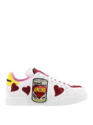 DOLCE & GABBANA: sneakers - Sneaker in pelle con ricami