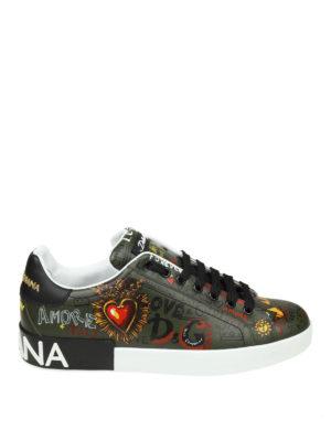 DOLCE & GABBANA: sneakers - Sneaker Portofino verdi con stampa graffiti