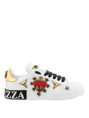 DOLCE & GABBANA: sneakers - Sneaker in pelle e ricami gioiello