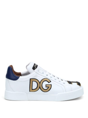 Dolce & Gabbana: trainers - Logo patch leather sneakers