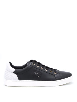 Dolce & Gabbana: trainers - Logo plaque leather sneakers