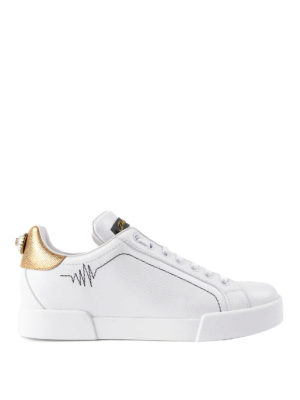 Dolce & Gabbana: trainers - Maxi pearl leather sneakers
