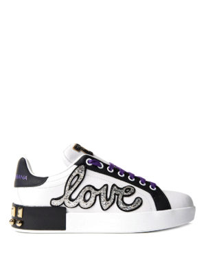 Dolce & Gabbana: trainers - Multi decoration leather sneakers