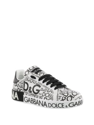 Dolce & Gabbana: trainers online - All-over logo leather sneakers