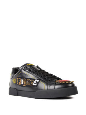 Dolce & Gabbana: trainers online - Beaded Prince patch leather sneaker