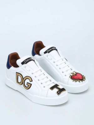 Dolce & Gabbana: trainers online - Logo patch leather sneakers