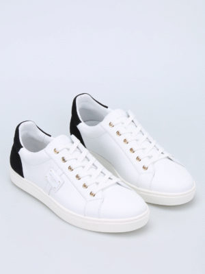 Dolce & Gabbana: trainers online - Logo plaque leather sneakers