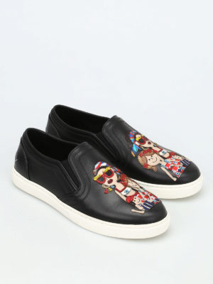 Dolce & Gabbana: trainers online - London DG Family leather slip-ons
