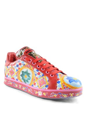 Dolce & Gabbana: trainers online - Mambo print leather sneakers